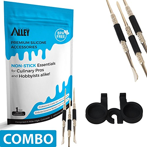 (SILICONE ALLEY Wax Carving Tools [Set of 3] for Carving/molding/Dabbing Clay + Holder (1) (Non Stick Jars Sold Separately - Type Above nonstick Container)