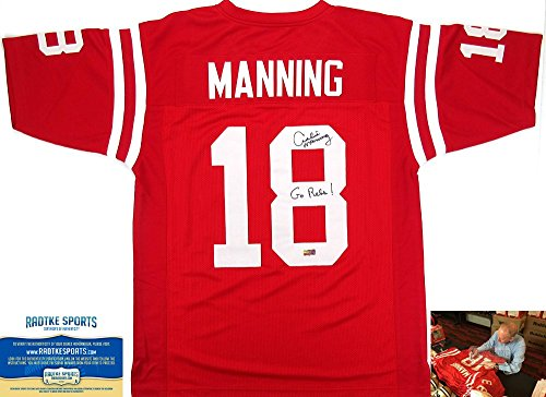 (Archie Manning Autographed/Signed Ole Miss Throwback Red Custom Collegiate Jersey with