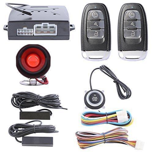 Smart Key Hopping Code PKE Passive Keyless Entry Car Alarm System with Push Start Button Remote Engine Start Auto Lock Unlock