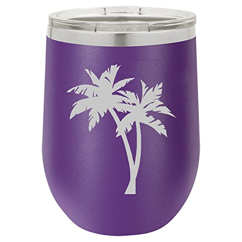 12 oz Double Wall Vacuum Insulated Stainless Steel Stemless Wine Tumbler Glass Coffee Travel Mug With Lid Palm Trees (Purple)