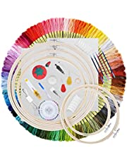STARTOGOO Embroidery Kit 215 pcs,100 Colors Threads,3 pcs Aida Cloth,40 Sewing Pins,5 pcs Embroidery Hoops,Cross Stitching Starter Kit for Beginners