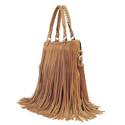 Bag Large Handbag Bag Caszel Hobo Fringe Crossbody Khaki Casual Waterproof Womens Shoulder PU Tassel Leather Pq58fwq