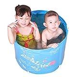 Bathtubs Freestanding Inflatable Folding Bath tub Children's Bath tub Thick Plastic Baby Bath tub (Color : Blue, Size : 5845cm)