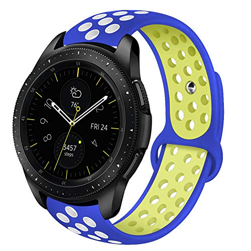 VIGOSS Compstible Witch Galaxy 42mm Watch Band/Gear Sport Band/Galaxy Active 40mm Watch Bands, 20mm Silicone Strap Wristband for Samsung Galaxy 42mm Watch R810 (Blue/Yellow, S/M)