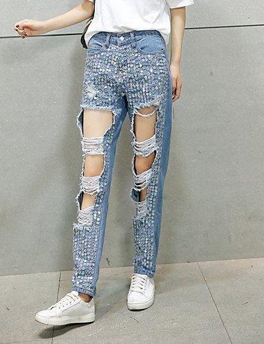 TT&NIUZAIKU Damen Hohe Hüfthöhe Jeans Hose Solide, Light Blau, m