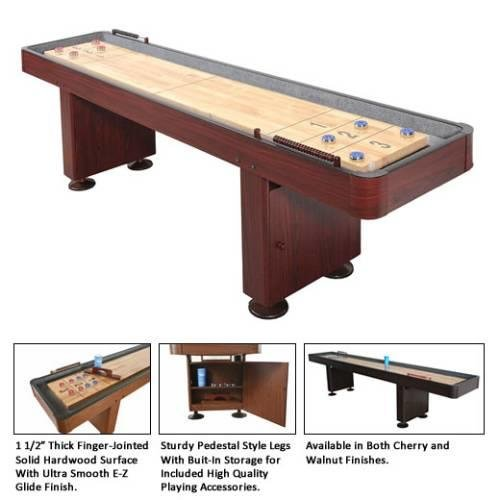 NG1216 14' Carmelli Shuffleboard Featuring a Durable MDF Cabinet in a Dark Cherry Finish