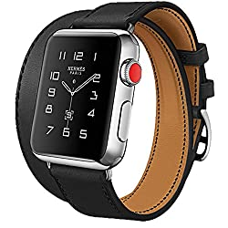 Apple Watch Series 3 Band, Ibazal 42mm [Dual Loop] Leather Band Genuine Leather Replacement Band For Apple Watch Series 3 & Series 2 & Series 1 - Black 42mm