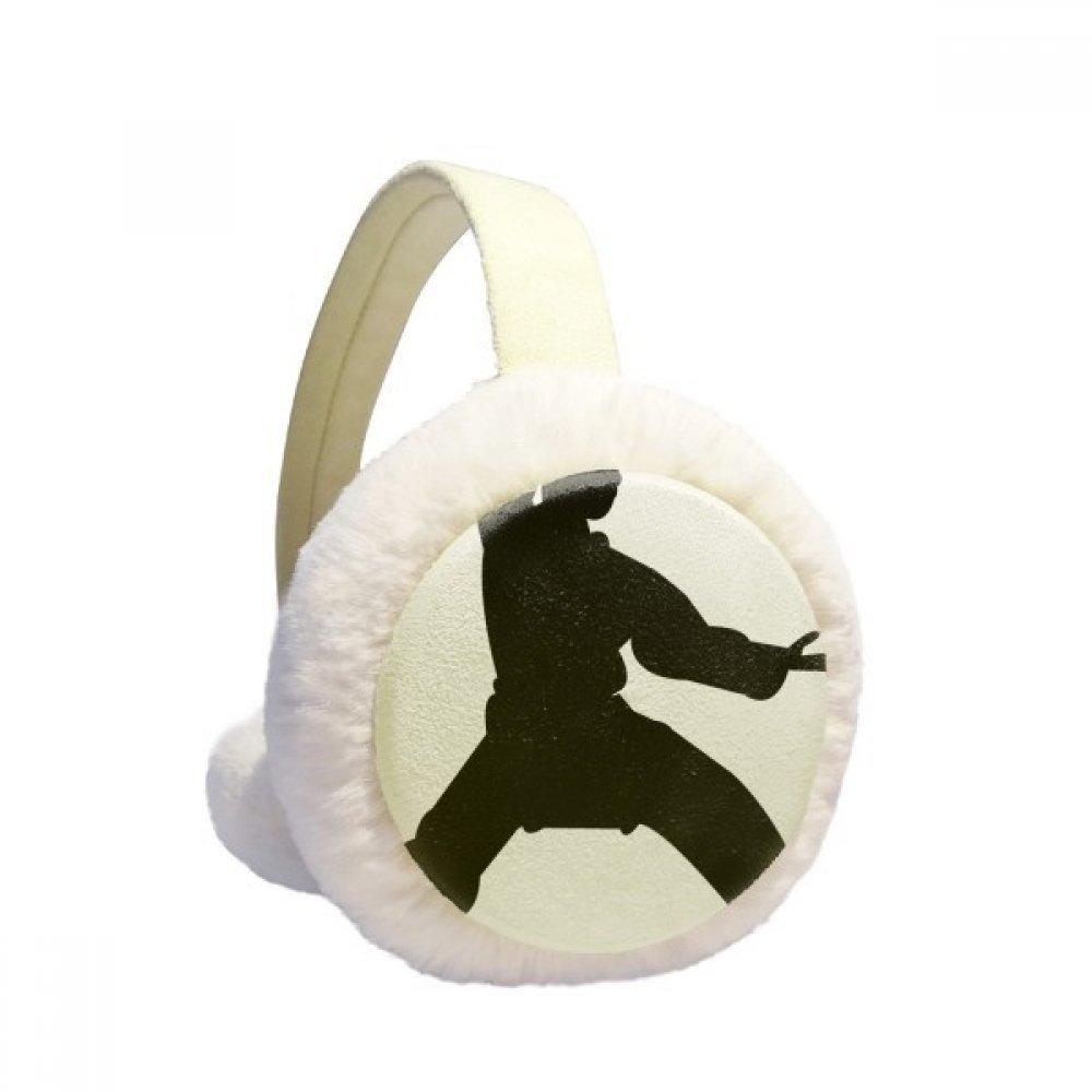 China Martial Art Shaolin Kung Fu Pattern Winter Earmuffs Ear Warmers Faux Fur Foldable Plush Outdoor Gift