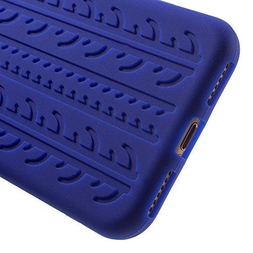 Soft Tyre Tread Silicone Back Tasche Hüllen Schutzhülle Case für iPhone 7 4.7 Inch - dark blau