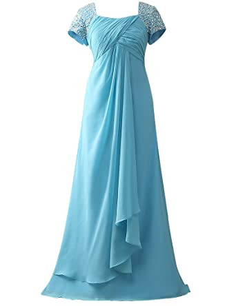 HUINI Cap Sleeves Beads Long Chiffon Prom Formal Dresses Mother of the Bride Gowns UK6