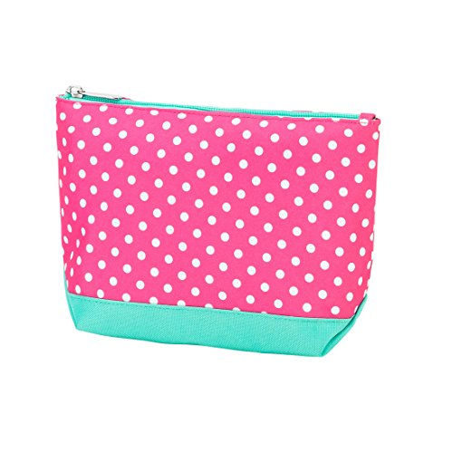 Pink Dottie Print Small Travel, Purse, Cosmetic Accessory Pencil Bag 9 In - Can Be Personalized (Personalized Pink Dottie) (Wholesale And Shoes Bags)
