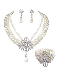EleQueen Women's Silver-tone Simulated Pearl Crystal Victorian Style Flower Bridal Jewelry