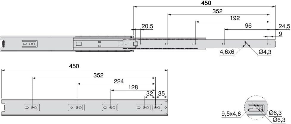 Pack of 5 Emuca 3043405 Set of full extension ball bearing runners//slides 45mm x 400mm for drawer