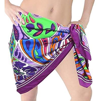 Hot LA LEELA Hibiscus Mini Sarong Bikini Cover up Wrap Skirt Swimsuit Beachwear Dress Scarf for sale