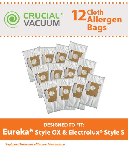 12 Replacements for Electrolux & Eureka S & OX Cloth Bags Fit Harmony Oxygen Vacuums, Compatible With Part # 61230, 61230a, 61230b & 61230c, by Think (Harmony Canister Vacuum Bags)