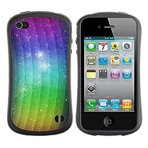 LASTONE PHONE CASE / Suave Silicona Caso Carcasa de Caucho Funda para Apple Iphone 4 / 4S / Waves Rainbow Spectrum Light Stars Cosmos
