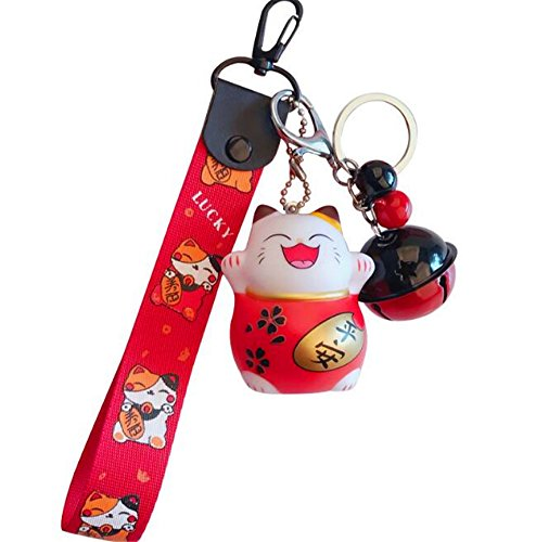 EatingBiting(R) Japanese Maneki Neko Fortune Lucky Beckoning Cat Bell Buckle Keyring Keychain Key Ring Red Lucky Wrist Hand, Big Bell, Peace Ping'an Cat Pendant Gift Well with Cellphone,Handbag,Purse