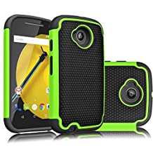 Motorola Moto E 2nd Gen Case, Tekcoo(TM) [Tmajor Series] [Green/Black] Shock Absorbing Hybrid Rubber Plastic Impact Defender Rugged Slim Hard Case Cover For Motorola Moto E 4G LTE(2nd Gen ONLY) 2015