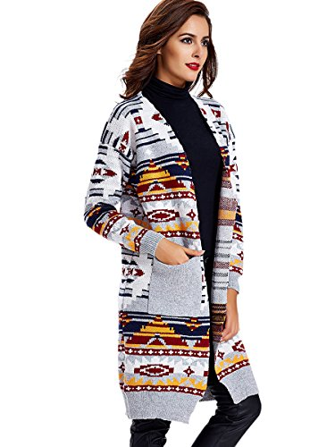 Young17 Women's Winter Warm Loose Knitted Sweater Striped Jacket Cardigan (Sweater Striped Winter)