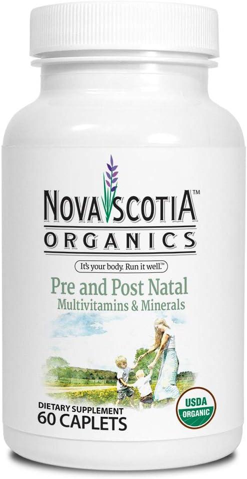 Nova Scotia Organics Prenatal and Postnatal Multivitamins & Minerals (60 Caplets); Certified Organic; Vegetarian; Whole Food Sourced Vitamins and Minerals; Natural Folate from Organic Lemon Peel