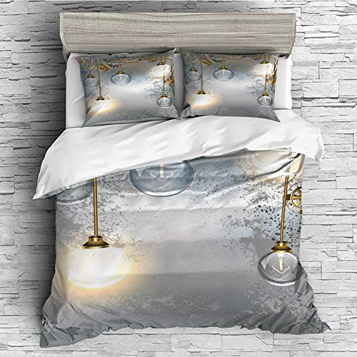 4 Pcs duvet Cover set Cotton for Bedding Set With Hidden Zipper Closure(queen size)Industrial Decor,Steampunk Antique Composition Brass Fastening Round Figures Print Decorative,Gold Grey White ()
