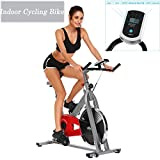 Cosway Exercise Bike, Pro Indoor Cycling Bike Spin Stationary Bike Machine with Flywheel for Home Fitness, 275Lbs (Silver) For Sale