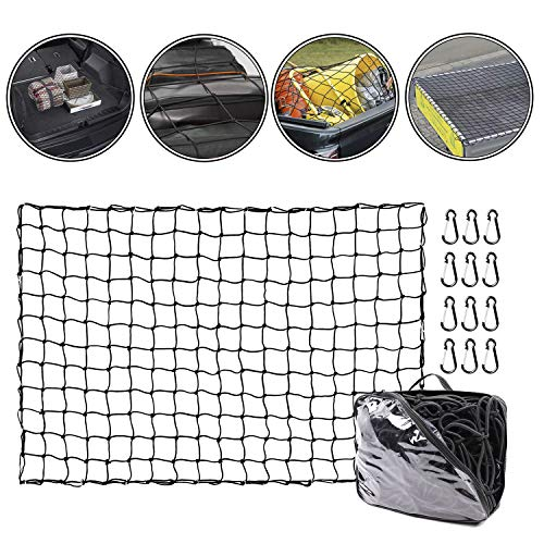 Cargo Net Truck Cargo Webbing 4'x 6' Stretches to 8'x 12' Bungee Net with 12 Aluminum Clip Carabiners Small 4'x 4'Mesh Net Holds Small/Large Loads Tighter for Pickup Truck, Trailer, Boat,ATV (Jeep Storage Webbing)