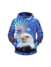 Minikoad_Men Coat Men's 3D Printing Long Sleeve Hoodies Sweatshirt, Male Autumn Spring T-Shirt Blouse Sport Tops with Cap