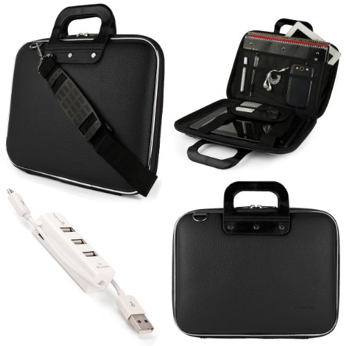 SumacLife Cady Briefcase Messenger Bag for HP ProBook 650 G2 15.6 inch Laptop with 3 Port USB Hub (Black)