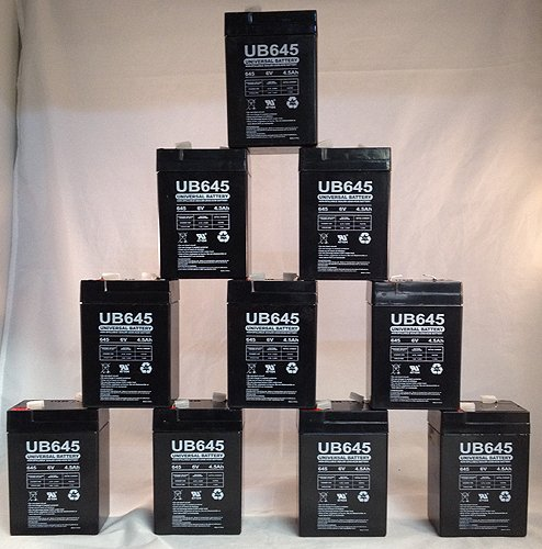 6 Volt 4.5 Ah New Battery for Hubbell 0120255 or Dual-Lite 12-255 - 10 Pack