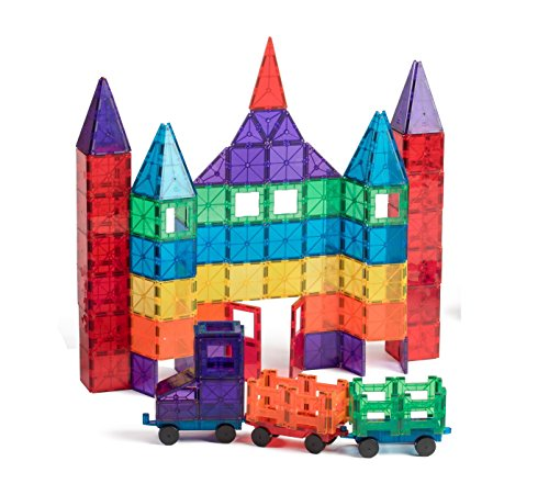 Playmags 100-Piece Clear Colors Magnetic Tiles Deluxe Building Set with Car & Bonus Bag