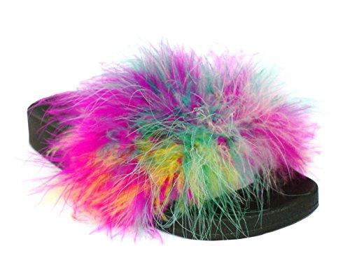 Flat Mules Faux Fur CRAZY Ladies Shoes Green Summer Slip K86 Sliders On Womens SHU Fashion Fluffy 8tqzw