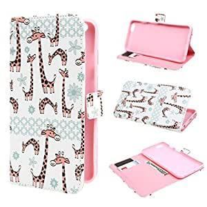 TUTUWEN Giraffe Style Design Magnetic Wallet PU Leather Stand Flip Case Cover for Apple iPhone 6 Plus (5.5 inches)