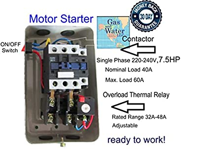 Magnetic Electric Motor Starter 7.5 HP Single Phase Control 220/240V 32-48A
