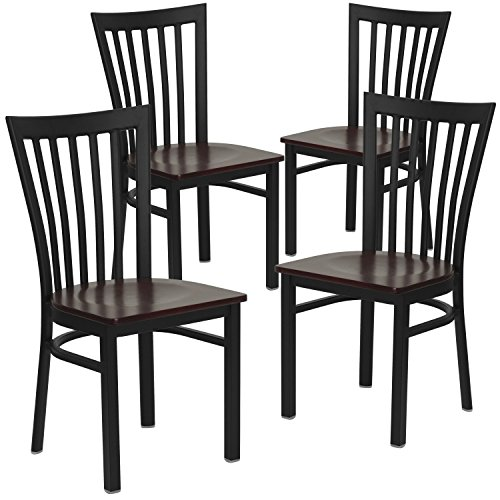 Restaurant Chairs Schoolhouse (Flash Furniture 4 Pk. HERCULES Series Black School House Back Metal Restaurant Chair - Mahogany Wood Seat)