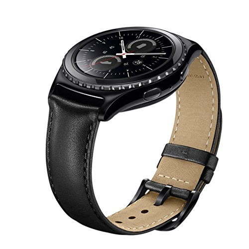 Gear S2 Watch Band, Wollpo Premium Leather Bands with Bukle Spring Bar Replacement Watch Band for Samsung Gear S2 Classic Smartwatch (Leather, Black) by Wollpo