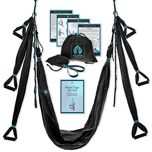 Yoga4You Aerial Yoga Swing Set - Black Yoga Hammock - Trapeze Yoga Kit + Extension Straps & eBook - Wide Flying Yoga Inversion Tool - Antigravity Ceiling Hanging Yoga Sling - Women Men Kids Arial Acro by Yoga4You