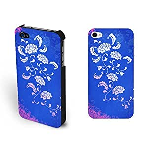 Pretty Blue Floral Pattern Design For Apple Iphone 5/5S Case Cover Vogue Elegant For Apple Iphone 5/5S Case Cover s Hard Phone Case for Girls