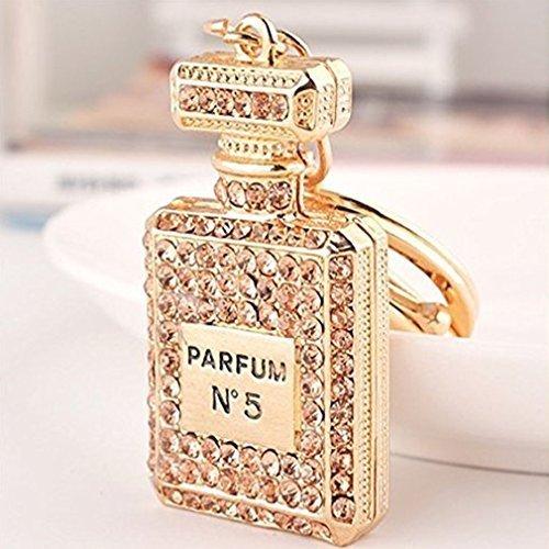 MOCHO AM Mujeres Rhinestate Perfume Llavero Bolso Colgante Encanto Llavero Regalo de Cumpleaños 1 Unids MOCHOAM