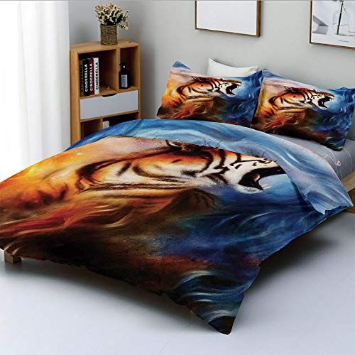 Duplex Print Duvet Cover Set Queen Size,Wild and Angry Tiger Portrait Fire Blue Flame Brave Mammal Jungle Forest King Fearless RoarDecorative 3 Piece Bedding Set with 2 Pillow Sham,Best Gift for Kids ()