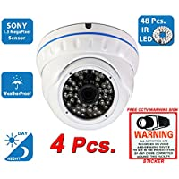Evertech 1200TVL Day Night Vision Outdoor Indoor Dome CCTV Security Camera Compatible AHD TVI CVI and Traditional Analog DVRs w Free CCTV Sticker Warning Sign (4 pcs. 1200TVL)