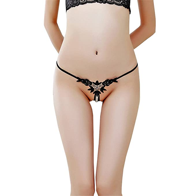 Shirloy Ropa Interior Atractiva Tridimensional Bordada Perla Ropa Interior Femenina Soluble en Agua Tanga de Cintura