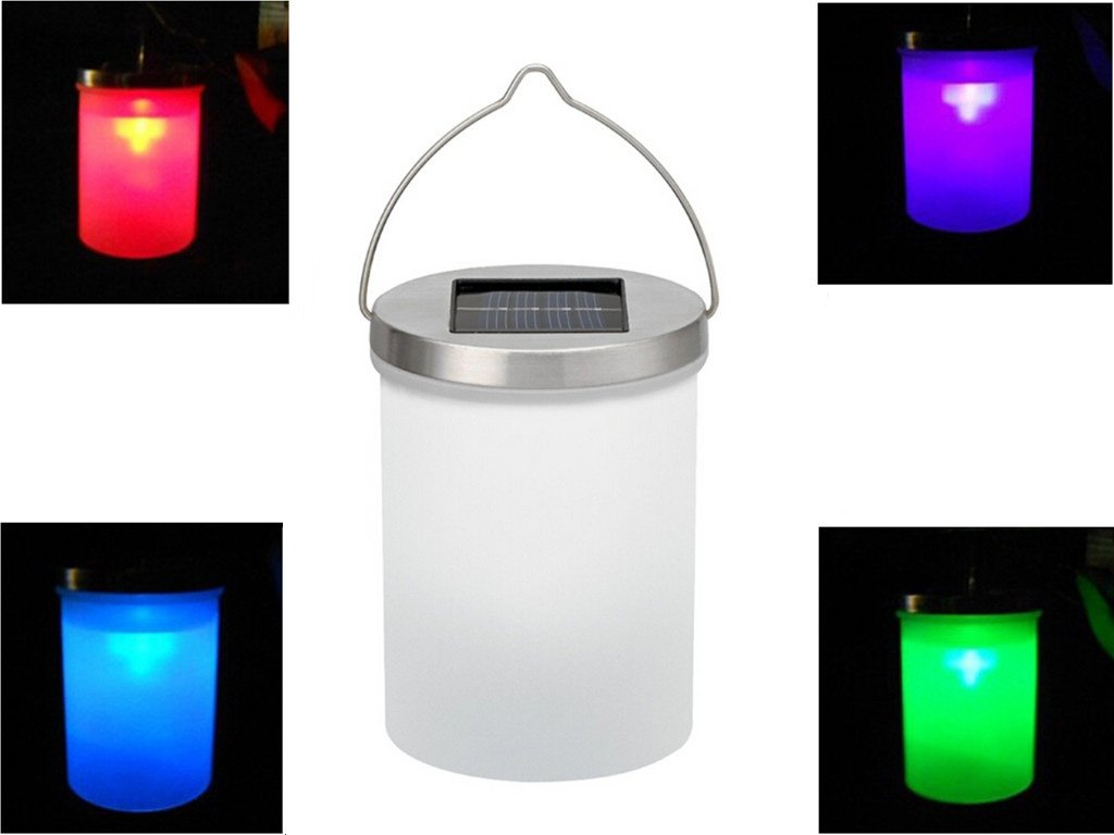 Luwint Color Changing LED Hanging Solar Light - Night Lantern with Fiber Cleaning Cloth for Garden Yard Patio Home Party Decor (Red Green Blue Changing)