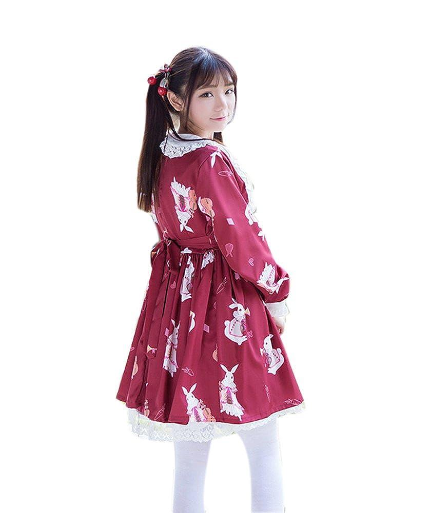 ROLECOS Womens Lolita Dress Doll Collar Maid Dress Chiffon Sweet Printed Dress