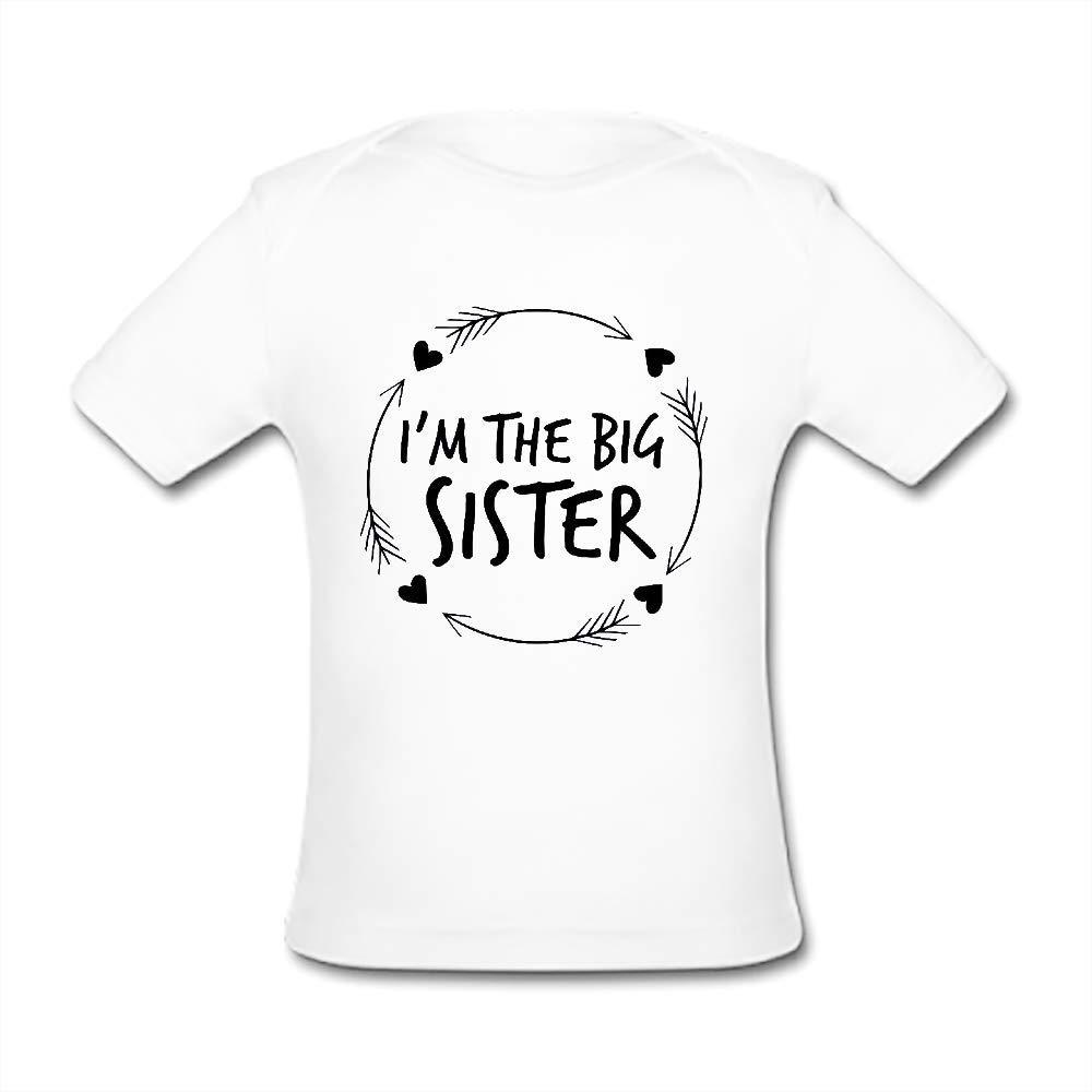 UlanLi Infant Tee Im The Sister Baby Organic Short Sleeve T-Shirt White