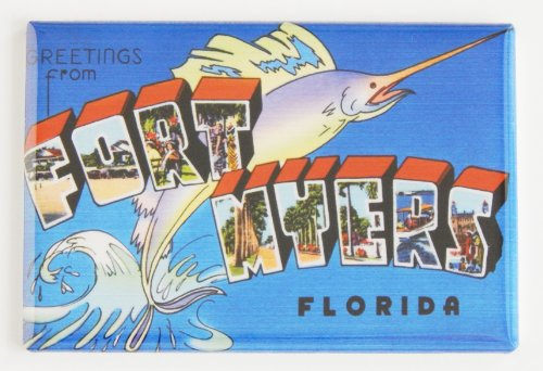 Greetings From Fort Myers Florida Fridge Magnet (2 x 3 - Myers Fort Stores