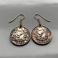 Colombia 5 Centavos coin earrings Bogotá Medellín Cali Caldas Soledad Ibagué Soacha Villavicencio Bello Vallenato Neiva Jacobin cap e000243