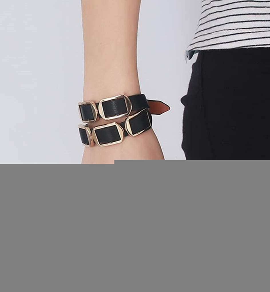Bangle 5 Rings Cuff Adjustable Length Black Gold 41CM MoAndy Bracelets with Charms Womens Mens Genuine Leather Bracelet