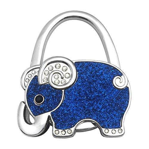 ZoCr Elephant Style Premium Foldable Handbag Bag Purse Hanger Table Hook Holder (Blue) from ZoCr