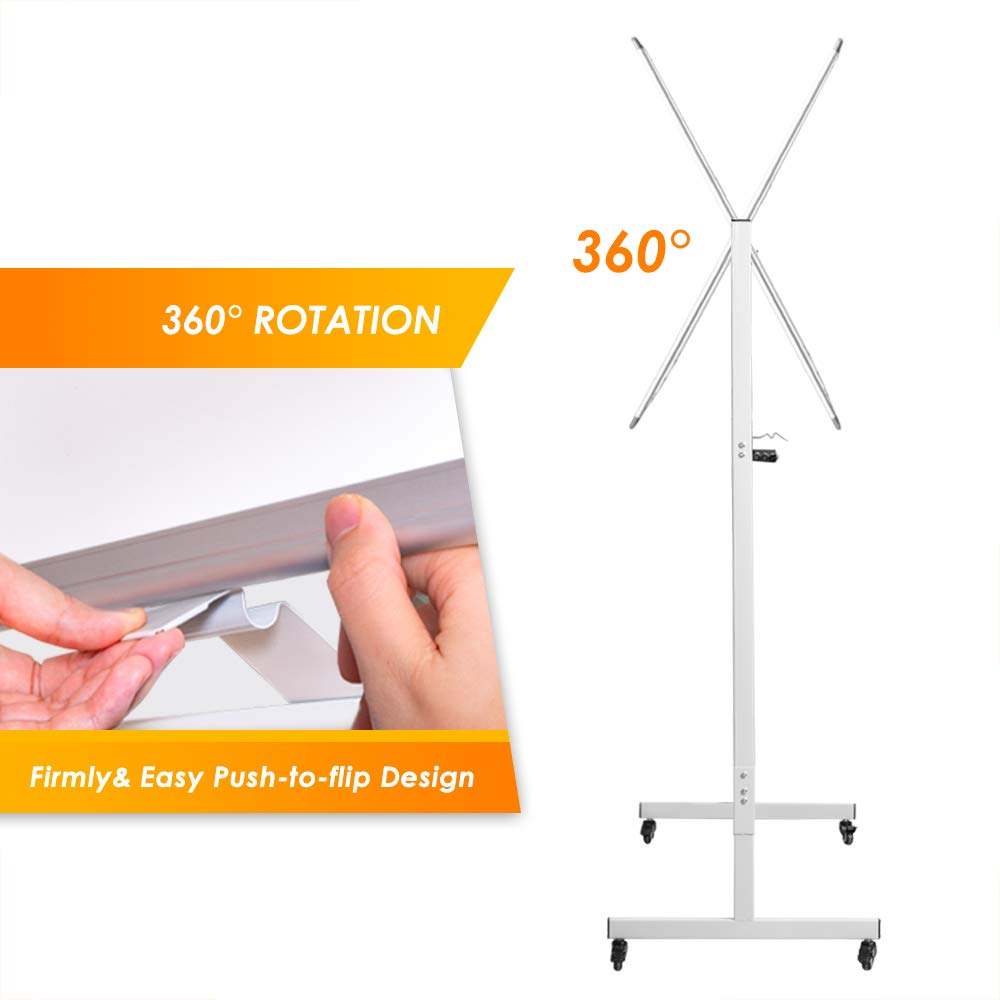 71 x 36 inches Large Reversible Dry Erase Board Easel Standing Board on Wheels with Silver Aluminum Frame and Stand Mobile Whiteboard Magnetic White Board Double Sided Rolling Whiteboard